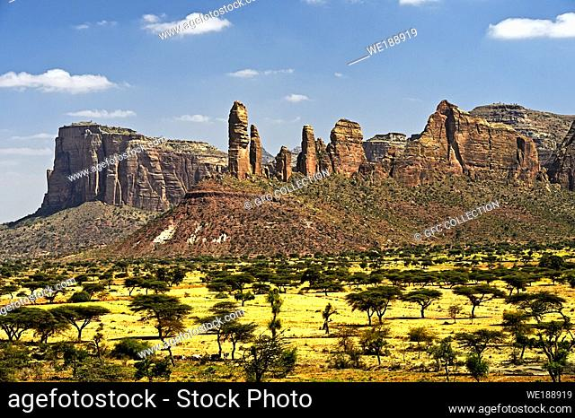 Koraro pinnacles in the Gheralta Mountain massif, northern part of the East African Rift Valley, near Hazwien, Tigray, Ethiopia