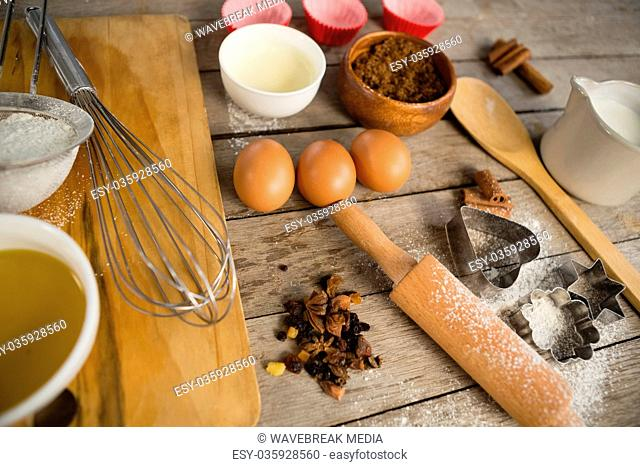 Close up of utensils and ingredients
