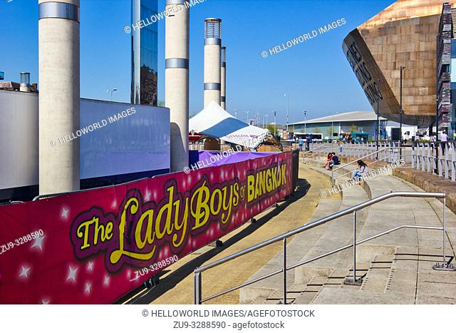 Banner for the Lady Boys of Bangkok shows at Wales Millennium Centre, Cardiff Bay, Cardiff, Wales, United Kingdom