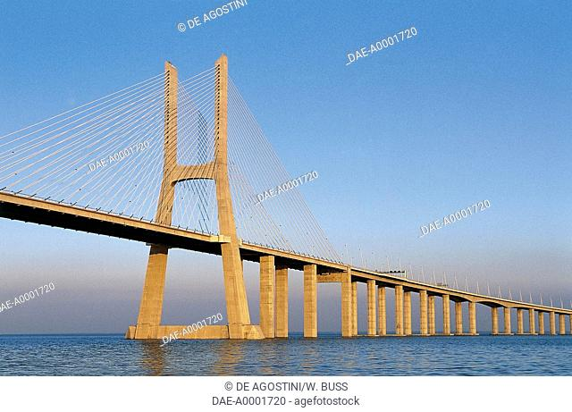 The Vasco da Gama bridge over the Tagus river (Tejo) which connects Montijo and Sacavem, Lisbon, Portugal