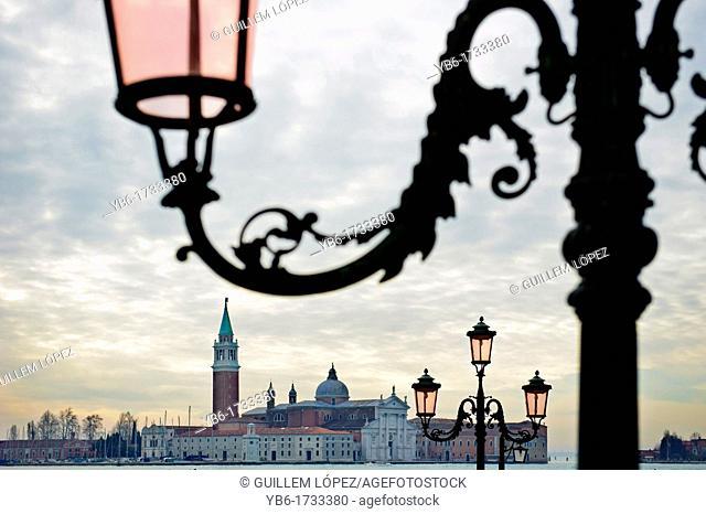 View of the Basilica of San Giorgio Maggiore of Venice, Veneto, Italy
