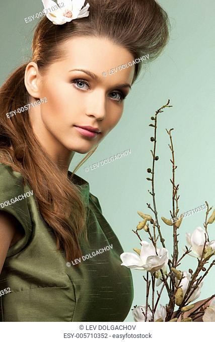 picture of beautiful woman over green background