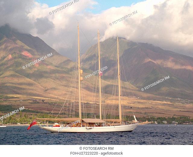 Lahaina, Maui, HI, Hawaii, West Maui, Auau Channel, schooner, windjammer, West Maui Mountains