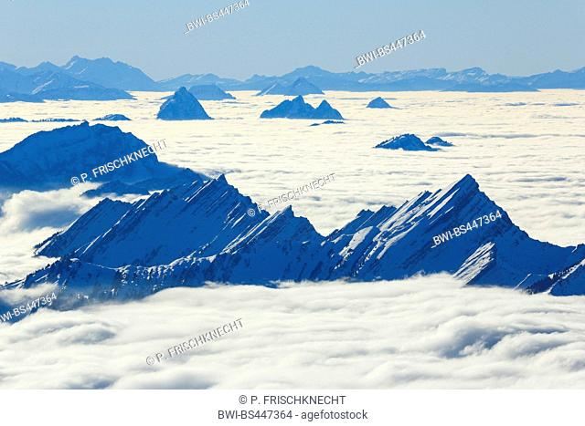 view from Saentis to Speer and Mythen in the clouds, Switzerland, Appenzell
