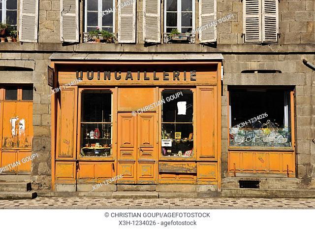 shopfront, Olliergues, Livradois-Forez Regional Nature Park, Puy-de Dome department, Auvergne region, France, Europe