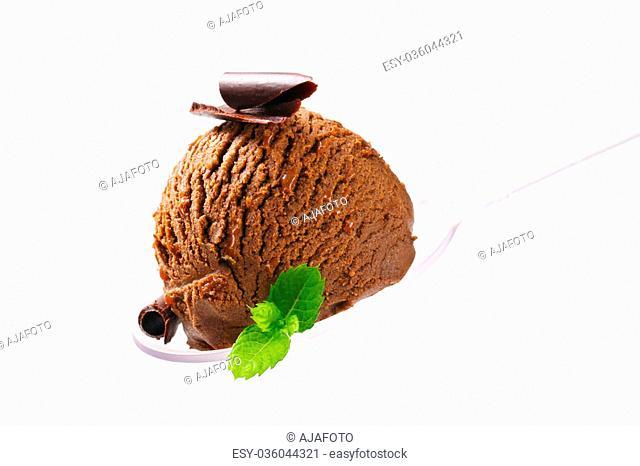Chocolate fudge ice cream on spoon