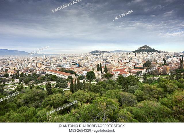Athens cityscape from Filopappou Hill. Athens. Greece