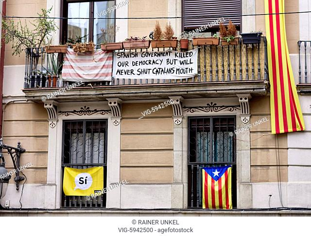 ESP , SPAIN : The flags of Catalonia in Barcelona , 03.01.2018 - Barcelona, Catalonia, Spain, 03/01/2018