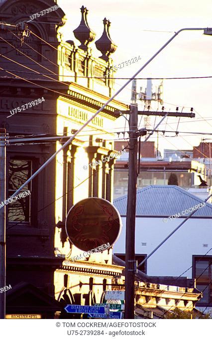 Period and modern architecture, Johnston Street, Fitzroy, Victoria, Australia