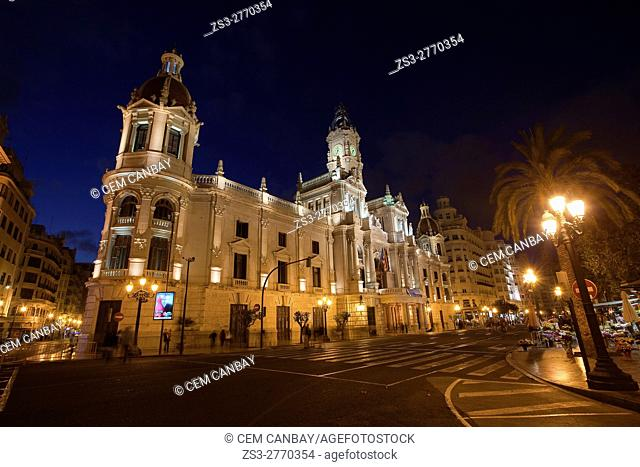 View to the Town Hall at the Plaza del Ayuntamiento square by night, Valencia, Spain, Europe