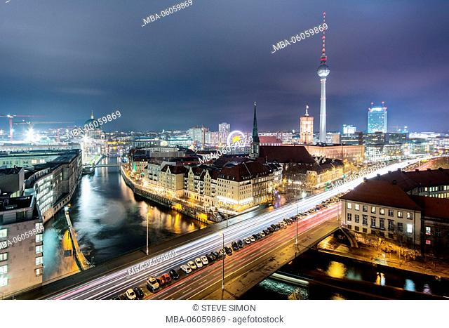View over the roofs of Berlin, Berlin Mitte, night photography