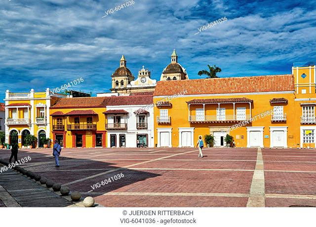 historical facade at Plaza de la Aduana, Cartagena de Indias, Colombia, South America - Cartagena de Indias, Colombia, 29/08/2017