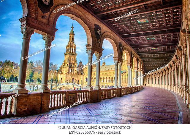 Spain Square, Plaza de Espana, Seville, Spain. View from porch between arches and columns