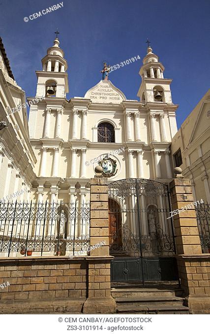 View to the Temple Of San Agustin-Templo De San Agustin or Santuario De Maria Auxiliadora in the historic center, Sucre, Chuquisaca Department, Bolivia