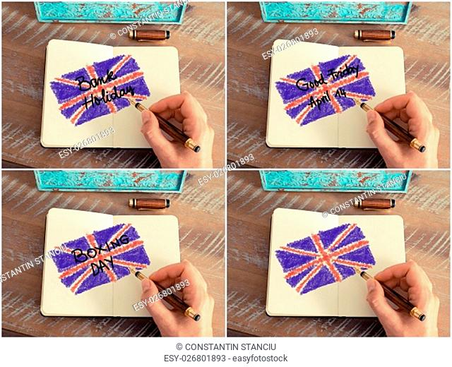 Photo collage with Bank Holiday Concept in the UK. Retro effect and toned image of a woman hand drawing the United Kingdom Flag with a fountain pen on notebook
