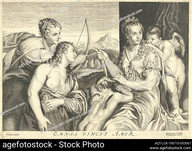Venus blindfolded Amor and two nymphs wear arrows and bows, allegory of love that overcomes everything Omnia vincit Amor (title on object)