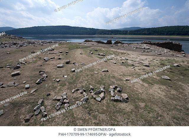The dried out Edersee offers archaelogical insights in Waldeck, Germany, 9 July 2017. The ruins of the abandoned villages resurface once the water level sinks