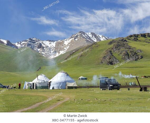 Yurts at lake Song Kol (Son Kul, Songkoel, Song-Koel). Tien Shan mountains or heavenly mountains in Kirghizia. Asia, central Asia, Kyrgyzstan