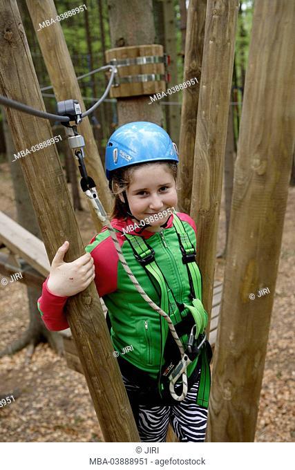 12 year-old girl, climbing park, Svat ý Linhart, Karlsbad, Czechia, Europe