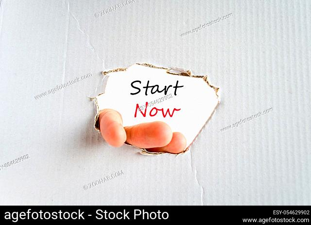 Start now text concept isolated over white background