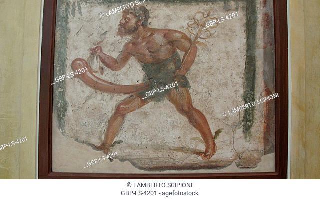Greek mythology, Priapus, fresco Pompeii, 2008, Rome, Italy