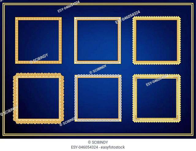 Set of decorative frame picture with gold border, Vector design on blue background with copy space in premium concept