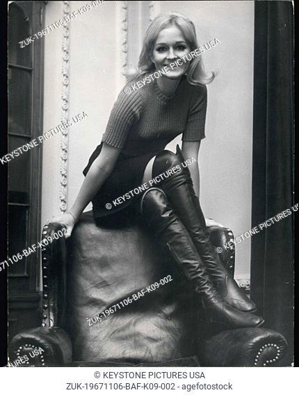 Nov. 06, 1967 - Sweden's 'Miss Teenage' visits swinging London. Sweden's Miss Teenage - pretty, blonde 17-year-old Birgitta Haglind from Gothenburg