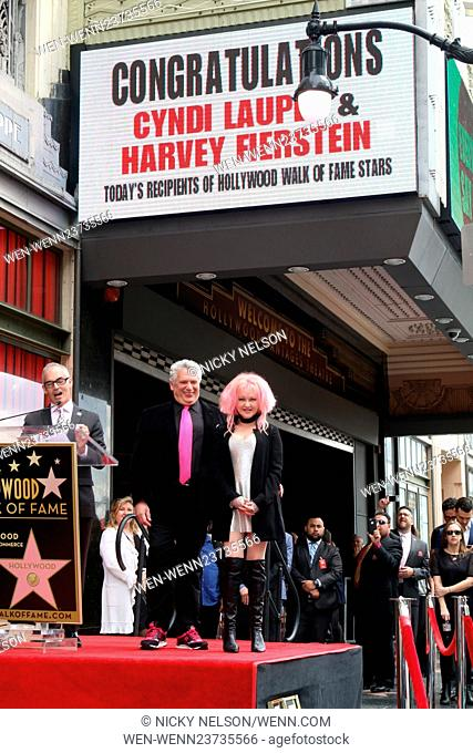 Harvey Fierstein and Cyndi Lauper Hollywood Walk of Fame Ceremony at the Pantages Theater on April 11, 2016 in Los Angeles, CA Featuring: Harvey Fierstein