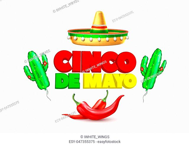 3d cinco de mayo party poster template. Festival traditional mexican holiday celebration design with realistic sombrero hat, chili pepper cactus air balloon