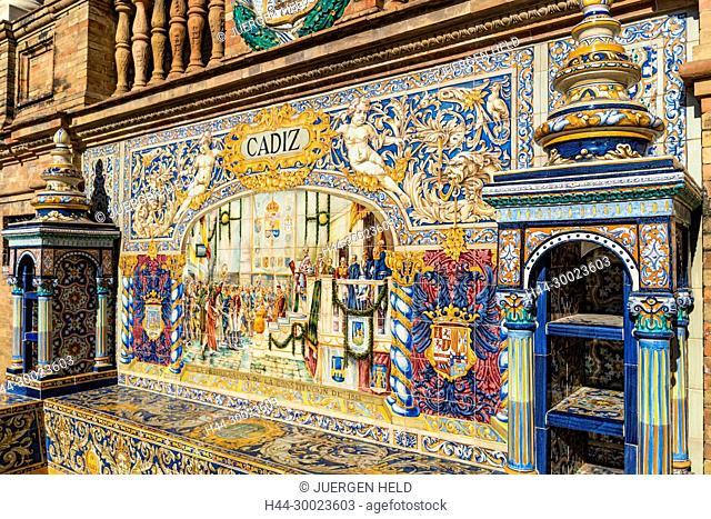 Antique ceramic, wall tiles representing provinces and cities of Spain , Province Cadiz , Placa de Espana, spanish square, Seville, Andalusia, Spain