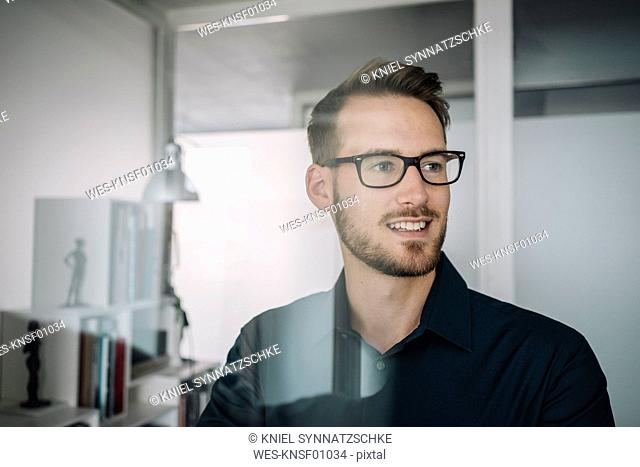 Smiling businessman behind glass pane