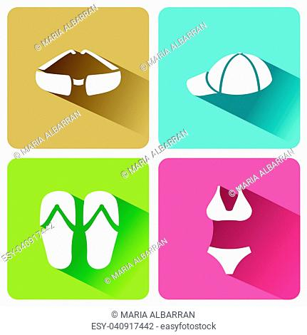 Summer clothes icons with shadow on a white background. Vector illustracion