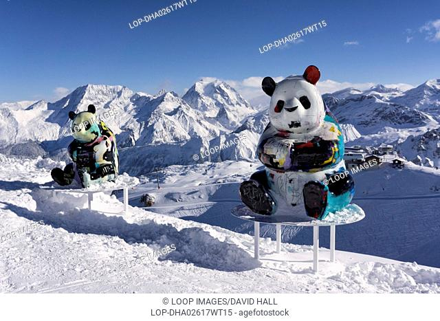 Panda sculptures by the French artist Julian Marinetti on display at the summit above Courchevel during the winter season 2017