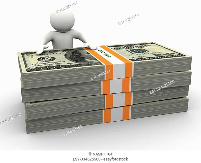 3d render of man standing behind dollar bills