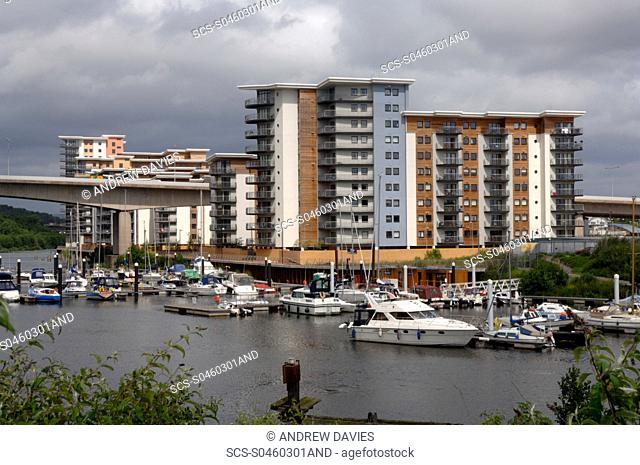 Marina and apartment block, Cardiff Bay, Cardiff, Wales, UK, Europe