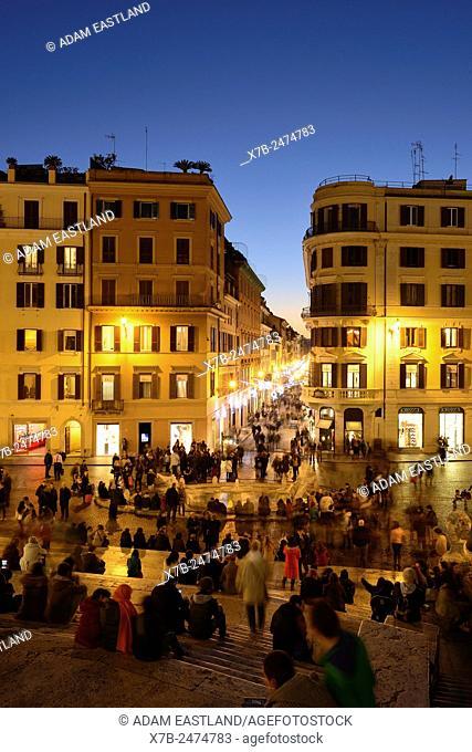 Rome. Italy. View from the Spanish Steps overlooking Piazza di Spagna & Via dei Condotti