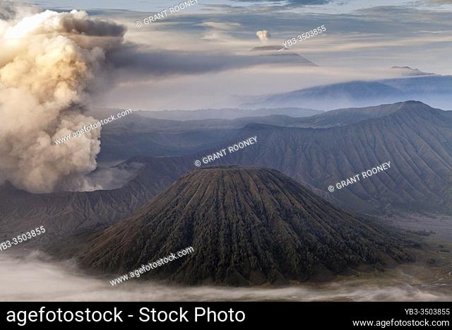An Elevated View Of Mount Bromo, Mount Batok and The Bromo Tengger Semeru National Park, Java, Indonesia