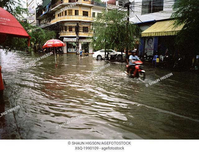 Monsoon in Phnom Penh in Cambodia in Southeast Asia Far East