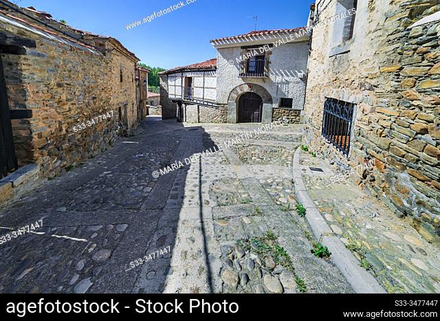 Street and rural house in the medieval village of Yanguas. Soria. Spain. Europe