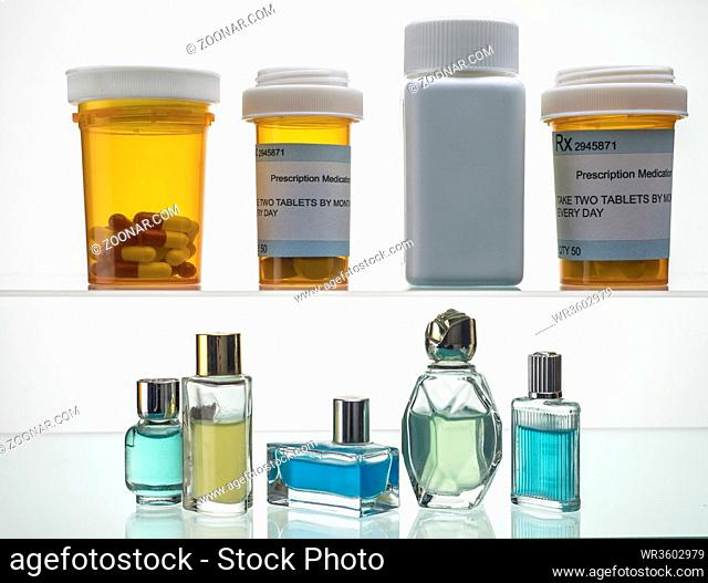 Different types of cosmetic packings and medicines isolated on white background