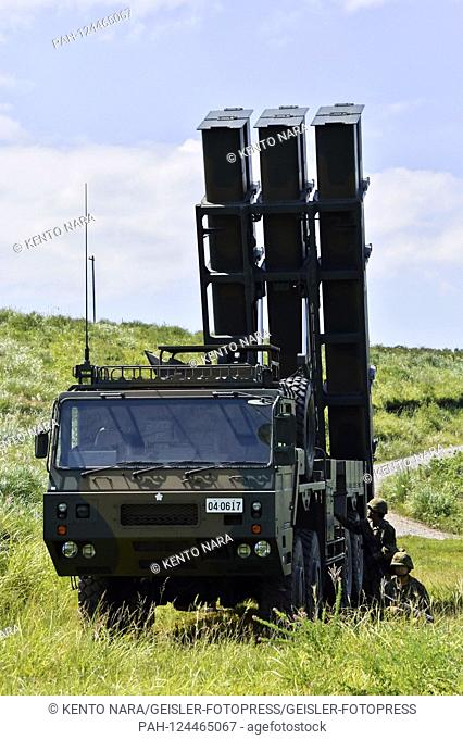 Type 12 ground-to-ship missile of the Japan Ground Self-Defense Force in the United States' combined military deployment 'Orient Shield 2019' and at Oyanohara's...