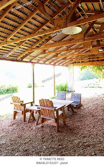 Outdoor patio furniture under wood awning