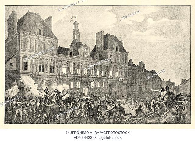Robespierre, Saint-Just, Couthon and Hanriot Taking Refuge in the Hotel-de-Ville in Paris, 9 Thermidor Year II. French Revolution 18th century