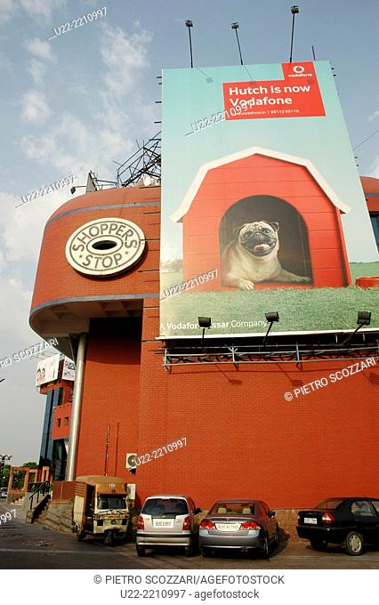 Delhi, India: huge Vodafone ad at Ansal Plaza mall