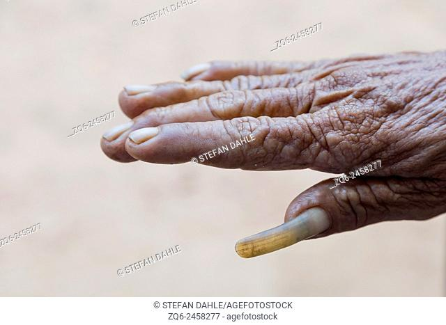 Long Fingernail of an old Man in the Isaan Province, Thailand