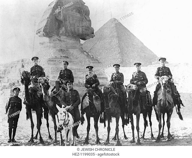 Jewish Legionaries on camels, Giza, Egypt, World War I, 1915-1918. Fourth from the right is Sergeant Samuel Wolfson, elder brother of Sir Isaac Wolfson