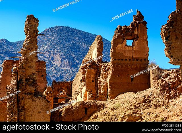 A ruined Glaoui Kasbah on the banks of the Oued N'Fis, Marrakech-Tensift-Al Haouz, Morocco