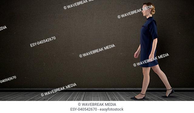 Businesswoman lady walking in dark room