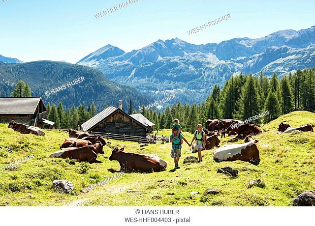 Austria, Salzburg Country, Family hiking at Altenmarkt Zauchensee