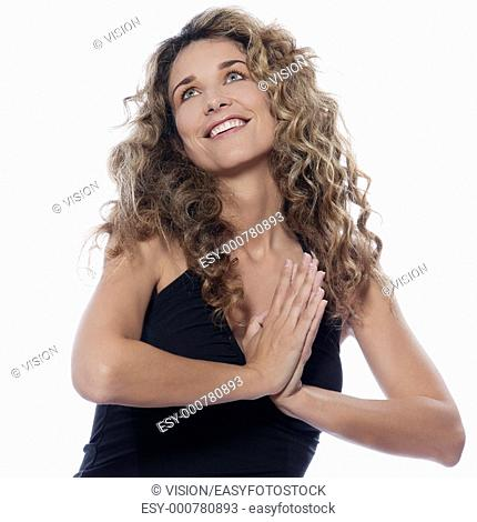 beautiful caucasian woman looking up praying portrait isolated studio on white background